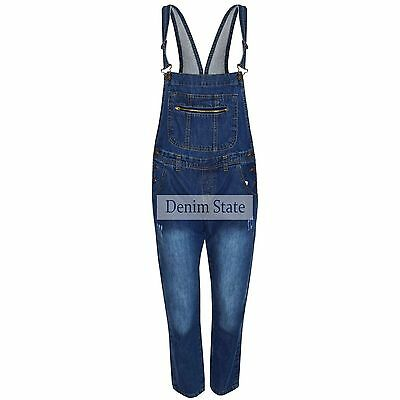 Womens Ladies  Denim State  Dungarees Front Zip Distressed Jeans  Pant Play Suit