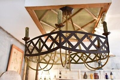 Large French wrought iron lustre - vintage rustic French chandelier