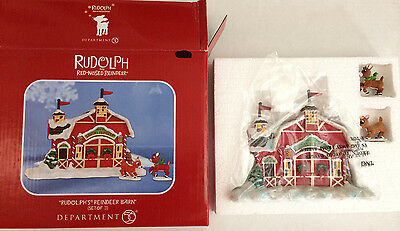 Department 56 Christmas Holiday Rudolph's Red Nosed Reindeer Barn set of 3