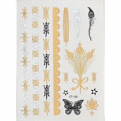 Metallic Flash Gold Foil Temporary Tattoos Feather  Butterfly Women Temp Tattoo