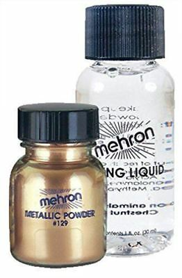 Mehron Metallic Powder Makeup .17 oz with Mixing Liquid 1oz - GOLD - SHIPS FREE!