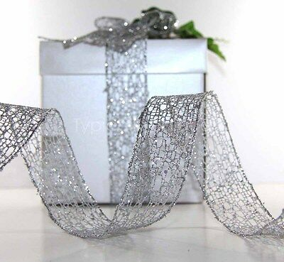 Christmas Ribbon Silver Mesh Glitter Gift Wrapping Decoration Wire Edged 'silvo'