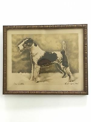"VINTAGE  1930/40'S? WIRE FOX TERRIER DOG PRINT by L Singer - 930  ""ON WATCH""NICE"