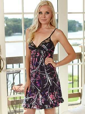 NWT Muddy Girl Purple Black  Camo Camouflage Lingerie Chemise Nightgown