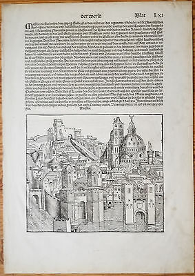 Incunable Leaf Schedel Liber Chronicorum Marseille France - 1493