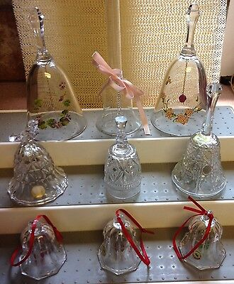 Lead Crystal and Glass Bells Variety Of Nine Diff. Sizes and Shapes all Nice