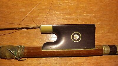 H.r. Hoyer Germany Antique Wooden Pearl Inlaid Violin/viola Bow