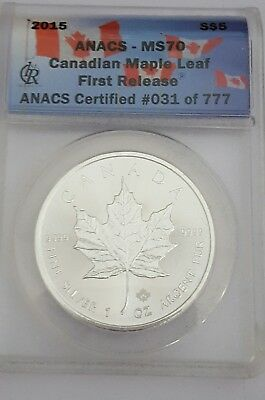 2015 Anacs Ms 70 Canadian Maple Leaf First Release