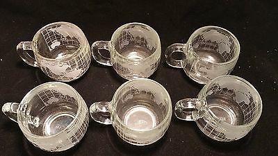 Vintage Nestle World Globe Atlas Frosted Etched Glass Coffee Cup Mug Set of 6