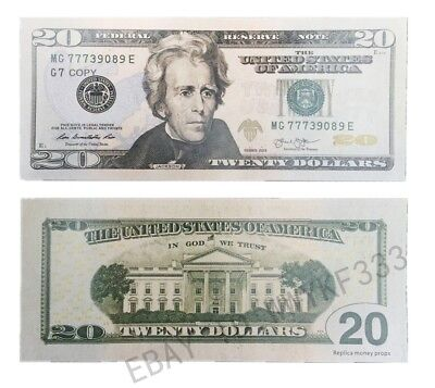 One bundle $20x100 USD Money Bills PROPS Novelty Movie Fake Money 75% Small size
