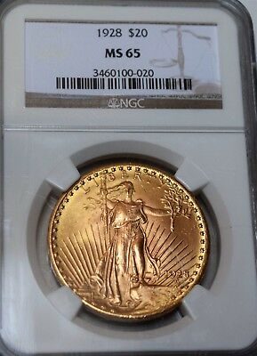 "1928 St. Gaudens American Double Eagle ""NGC MS65"" *.96750 oz. Gold*"