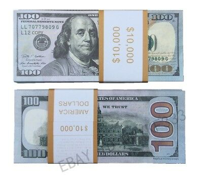 $100x100pcs USD Money Bills PROPS Novelty Movie Fake Money 75% Small size