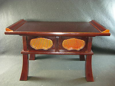 JAPANESE ANTIQUE 100 YR OLD TAISHO ERA BROWN LACQUER ALTAR STAND w/ DRAWER