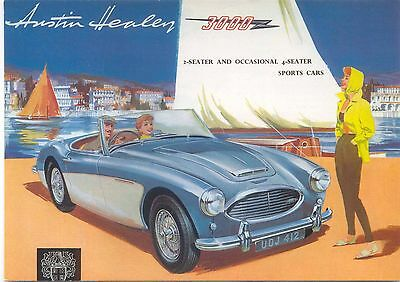 Austin Healey 3000 Modern Postcard by Beric