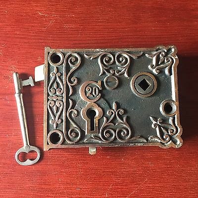 Antique C20 Victorian Eastlake Era Decorative Cast Iron Rim Lock  & Skeleton Key