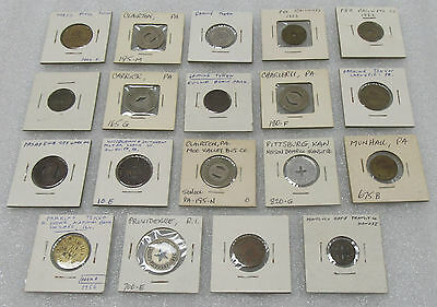Vintage Lot of 19 Old Transportation & Gaming Tokens - Different Locations!