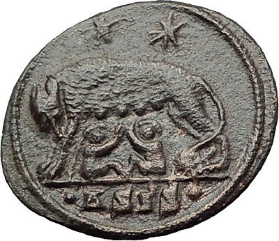 CONSTANTINE I the GREAT 330AD Romulus Remus WOLF Rome Ancient Roman Coin i63276