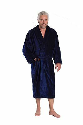 Herren Luxus Unifarbe Velours Bademantel in marineblau Baron cm Größe S bis 4XL