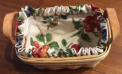 Longaberger Catchall Basket with Apple Orchard Liner/Leather Handles 1999