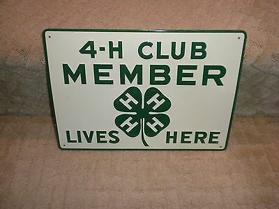Vintage 4-H Club Member Lives Here Embossed Tin Metal Sign Agriculture Animals