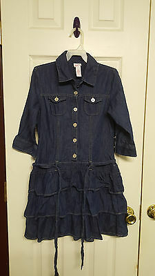 Girls Size 12 Justice Denim 3/4 Sleeve Ruffled Dress