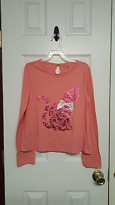Girls Size 12 Yrs Gap Kids Pink Graphic Cat Long Sleeve Shirt