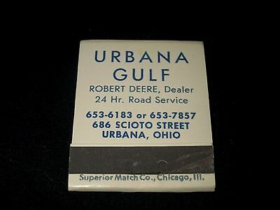 URBANA GULF STATION-ROBERT DEERE-URBANA, OHIO-VINTAGE 1960s MATCHBOOK