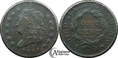 1814 1c Classic Head Large Cent S-295 VF detail corrosion Plain 4 rare type coin