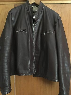 Vintage Leather Jacket Cafe Racer Boston Fidelity Brown Size 46 Xl