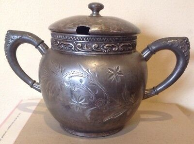 ANTIQUE BRITANNIA METAL CO U.S.A. SUGAR BOWL pattern 1989