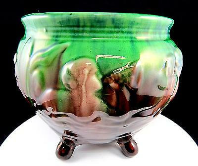 "Weller Majolica Sirens Of The Sea Blended Glaze 6 7/8"" Footed Jardiniere 1910's"