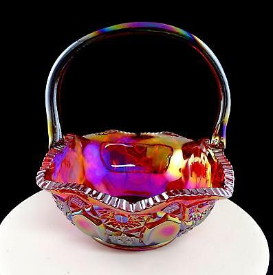 """Le Smith Signed Carnival Glass Ruby Quintec Cane &star 8 1/8"""" Brides Basket 1988"""