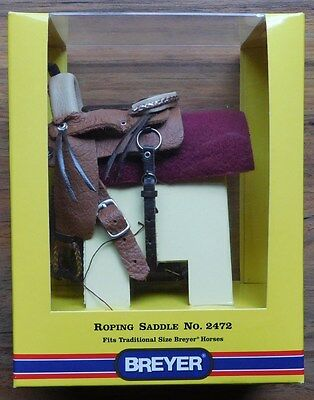 BREYER LEATHER ROPING SADDLE W/ BREAST COLLAR #2472  New In Package  Accessory