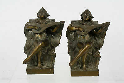 Vintage Heavy Brass Masked Musician Bookends