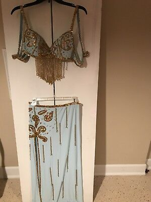 Light Blue And Gold Bellydance Cabaret Costume Size S/M