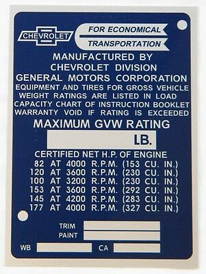 New Reproduction Data Tag / Identification Plate For 1965-1966 Chevy Truck (B)