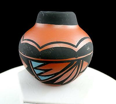 "Native American Skeeter Vail Signed Navajo Pottery Red & Black 2 7/8"" Bowl Vase"