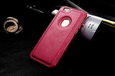 Luxury LEATHER Back Case Aluminum Bumper Cover For Apple iPhone 6 6S 4.7''