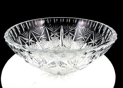 "Brilliant Cut Heavy Crystal Frosted Hobstar Fan And Thumbnail 8 3/4"" Bowl"