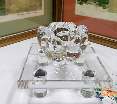 "Royal Copenhagen Crystal Lotus Flower 2 7/8"" Candle Holder Original Sticker"