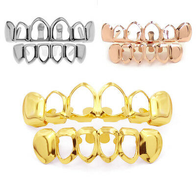 Hip Hop Plated Copper Mouth Caps Hollow 2 Rows Plated Teeth Grillz 2 Color FD9