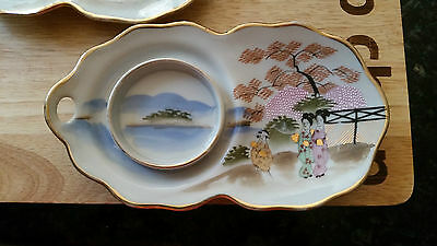 Set of Two Antique Satsuma hand painted Supper Saucers marked Maruni