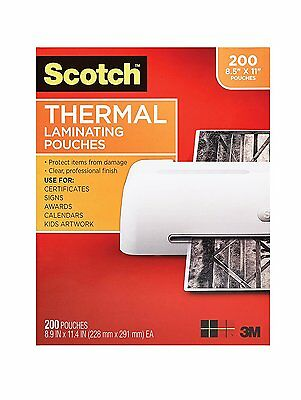 "3M Scotch 3 Mil 8.9"" x 11.4"" Thermal Laminating Pouches 200 Pack TP3854-200"