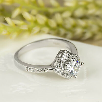 Womens Cute Delicate Promise RING Round CUT Silver Plated 1.0 CT Carat SIZE 6-9