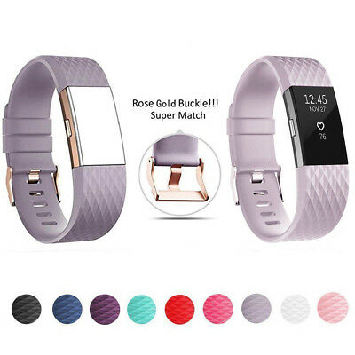 FitBit Charge 2 Strap Replacement Band Classic Metal&Rose Gold Buckle Wristband