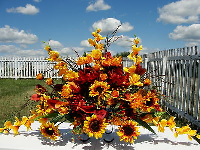 Dad's Cemetery Grave Headstone Sun Flowers Yellow Rust Fathers Day Arrangement