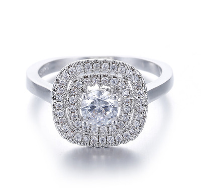 Womens 1.50 CT Halo Bridal Wedding Engagement Promise RING Silver SIZE 6-9