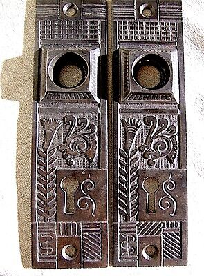 Pair Antique Brass Victorian Door Plates c1880 Architectural Salvage