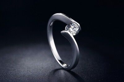 Womens 0.50 Ct Promise Anniversary RING Round Cut 5mm Sterling Silver Size 6-9