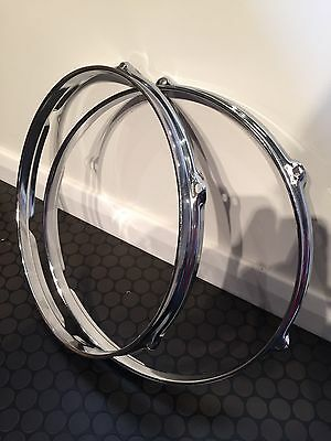 "Pair Of 12"" - 6 Lug Quality Triple Flange Chrome Hoops - Bargain!"